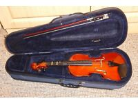 VIOLIN - 1/2 SIZE FULLY STRINGED WITH BOW IN ORIGINAL CASE BY MAYFLOWER