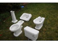Armitage Shanks 'Cliveden' Wash Basin, Toilet and Bidet. Reclaimed.