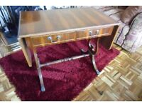 LADIES WRITING DESK WITH TWO DROP DOWN LEAVES AND TWO DRAWERS