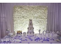 Sparkle & Sequins Events Special offer Silk backdrop, Flower Backdrop and Top table Decor for £200