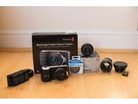 Blackmagic Pocket Cinema Camera, Panasonic 20mm, Nikon 50mm Plus extras! Bmpcc
