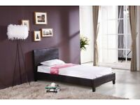 SUPEREME DISCOUNT🔵🔴(3ft) Single Size Leather Bed Frame With Opt Mattress- Order Now
