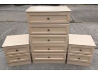 A PAIR OF BEDSIDE DRAWERS AND A MATCHING FIVE DRAWER CHEST