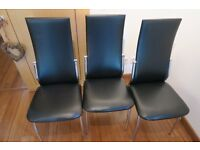 4 faux leather dining chairs black