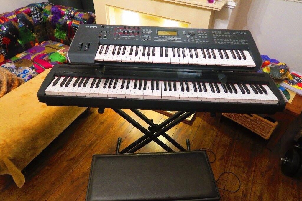 Yamaha Piano And Yamaha Synth On Double Keyboard Stand