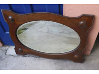 Solid wooden mirror. Oval mirror set in heavy, beaded frame. Vintage/ antique. East Belfast area