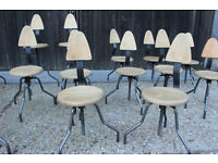 18 small Restaurant School Metal and Wood Rustic Stools Chairs joblot