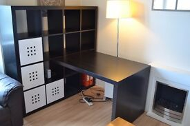 Well Maintained IKEA Expedit - Black With Table And Chairs