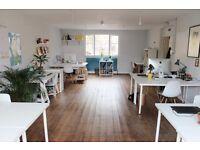 Desk space in large bright studio in Haggerston, Hackney £220pcm