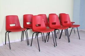 JOB LOT 8 X ORANGE PLASTIC/STACKING CHAIRS, SCHOOL CANTEEN HALL - CAN COURIER