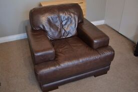 Brown leather armchair, very comfortable