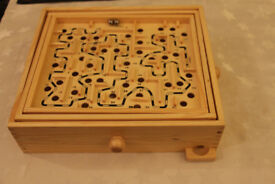 Wooden labyrinth puzzle game