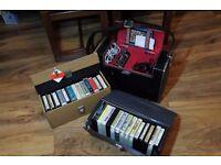 Vintage Hitachi TPQ-1111 Portable 8 Track Stereo Player & 28 Cartridges