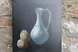 Original Vintage Painting Still Life Fruit Signed. Plums Vase Signed by Artist