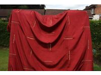 Red Silk Curtain, Thermally Lined.