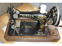 Antique Singer Sewing Machine with Wooden Case