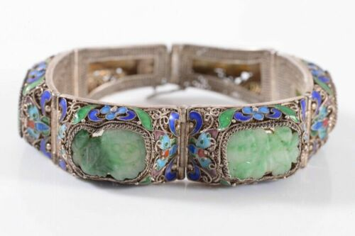 Beautiful Antique Chinese Silver Filigree & Cloisonne Bracelet, Carved Jade Dogs