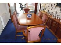 Beautiful Solid Teak Dining Table + 6 Chairs, made by McKintosh