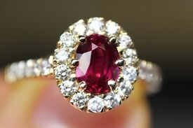 New 18ct Yellow Gold 1.35 Untreated Ruby and Diamond Cluster Ring + Certificate
