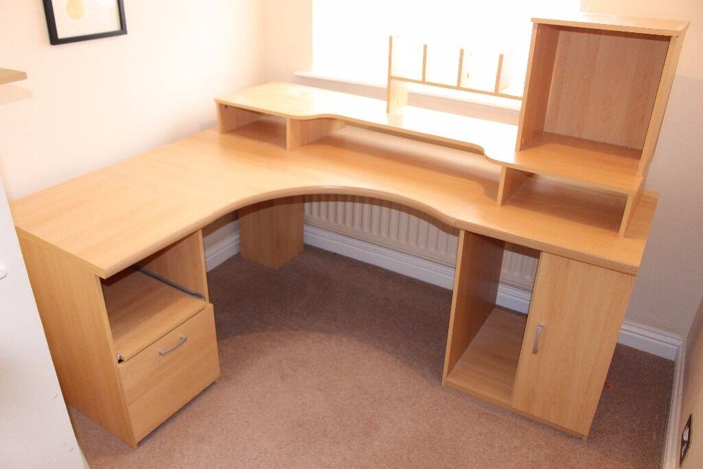 Large Corner L Shaped Desk Workstation In Beech