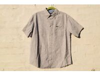 "Maine Large Blue and Sandy Brown Cheque Short-Sleeved Smart Casual Shirt C48"" & N16 ¾"""
