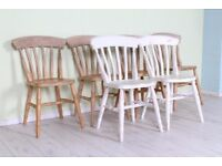 DELIVERY OPTIONS - SET OF 6 SOLID BEECH SLAT BACK FARMHOUSE CHAIRS VERY STURDY