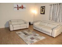 Elixir cream leather 3 seater sofa bed and electric recliner 2 seater sofa