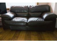 2 seater chocolate brown leather sofa in excellent condition