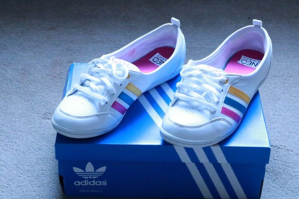 san francisco 471c6 21267 ADIDAS NEO PIONA F38867 BALLERINAS TRAINERS SUMMER SHOES WHITE WORE 2  TIMES UK SIZE 6 EURO 39 1 3