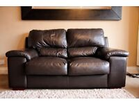 Pair of brown leather sofas, 3 seat leather sofa and 2 seat leather sofa