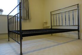 BLACK NICKEL METAL DOUBLE BED FRAME
