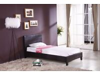 CHEAP BED FRAME SINGLE LEATHER BEDS WITH MEMORY FOAM MATTRESS DEAL -