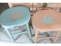 Pretty vintage chic swallow painted solid stools