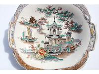 Stunning Mid Victorian Serving Bowl / Plate Oriental Pattern Unusual Shape Antique Vintage