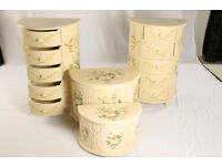Set of shabby chic hand painted bedroom units