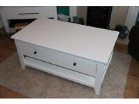 Large Coffee Table with 2 Way Drawers – In White