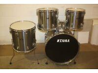 Vintage 1970s Tama Swingstar Black Badge ~ Brushed Silver 4 Piece Drum Kit (22in Bass) Drums Only