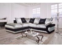 NEW DOUBLE PADDED DINO CRUSHED VELVET CORNER SOFA OR 3 AND 2 SOFA ''COMFORT GUARANTEED''
