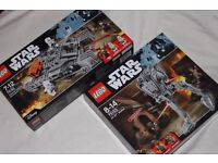 2x LEGO STAR WARS SETS (ROGUE ONE) AT-ST WALKER + IMPERIAL ASSAULT HOVERTANK inc 6 minifigures - NEW