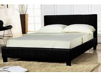 Double Leather Low Base Leather Bed With Mattress £85 (FAST DELIVERY AVAILABLE !!)