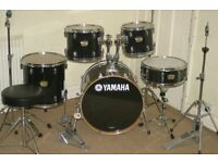 Yamaha YD Series Black 5 Piece Full Drum Kit (20 inch Bass) with Complete Cymbal Set