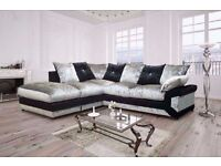 NOW GET NEW DOUBLE PADDED DINO CRUSHED VELVET CORNER SOFA OR 3 AND 2 SOFA WITH SAME DAY DELIVERY