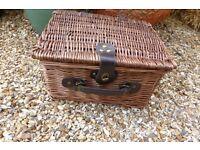 Small Wicker Picnic Basket For Sale
