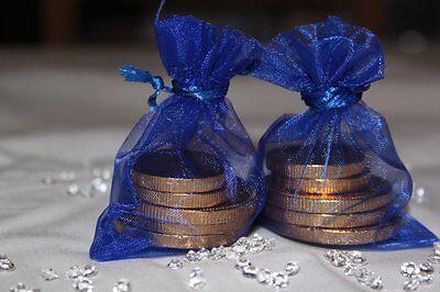 10 Royal Blau Organza Beutel Hochzeit Tischdekoration 7cm X 9cm UK Verkäufer ()