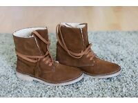Women's boots shear lined Bronx size uk 6 suede brown