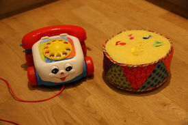 Fisher Price Pull Along Telephone and Little Tikes Rolling Drum