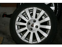"""a set of 15"""" MG, Rover 25, 45, 200, 400 alloy wheels 4x100 6Jx15CH-45 with tyres"""