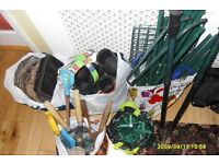 free garden pots baskets & tools and out door shelving stand