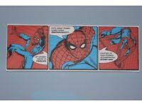 Spiderman Canvas wall triptych, mounted 95cm x 33cm x 5cm