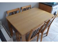 4 Seater Wooden Dining Room Table with Four Chairs